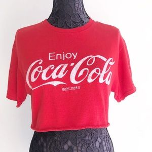 COCA COLA RED CROPPED T SHIRT TOP S